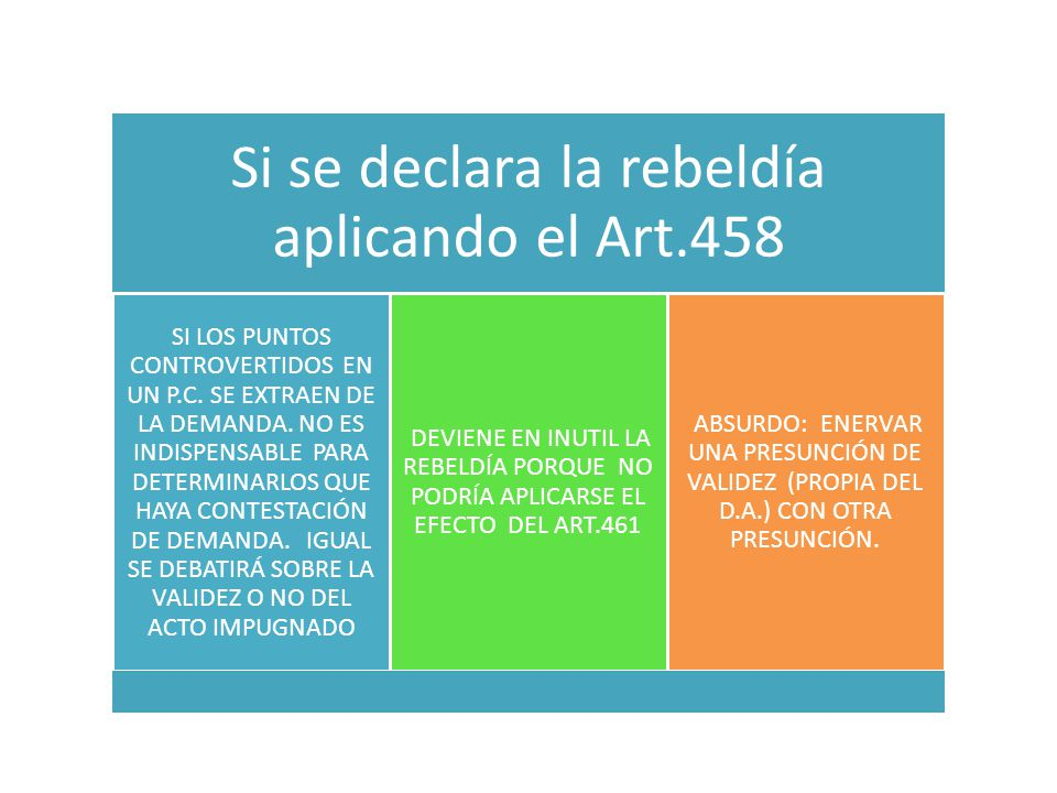Si se declara la rebeldía aplicando el Art.458