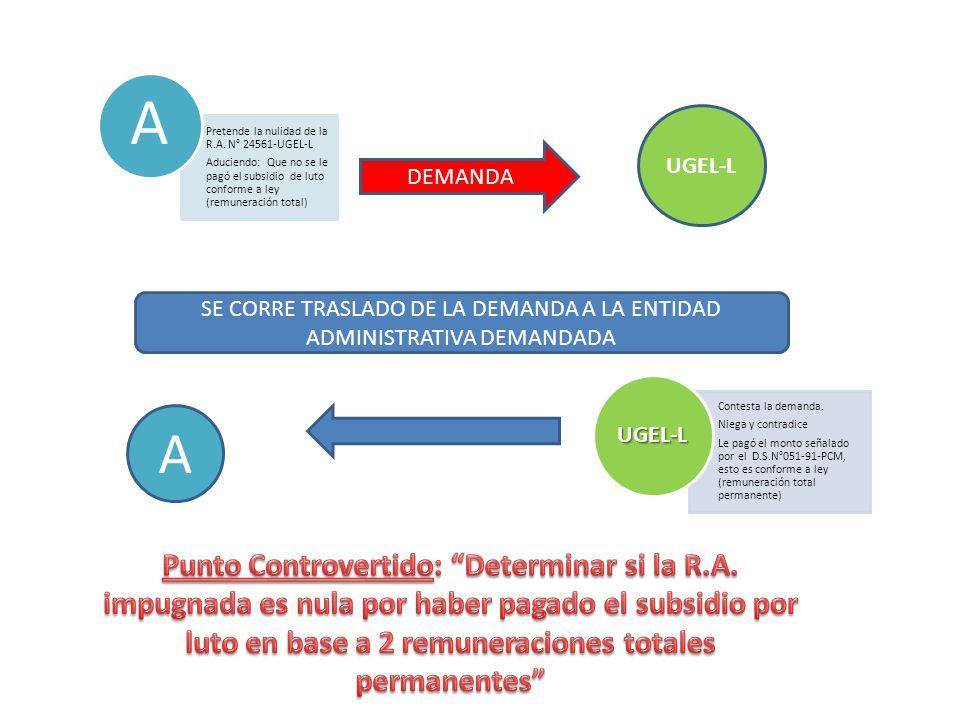 SE CORRE TRASLADO DE LA DEMANDA A LA ENTIDAD ADMINISTRATIVA DEMANDADA