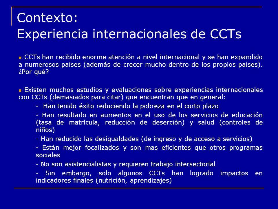 Contexto: Experiencia internacionales de CCTs