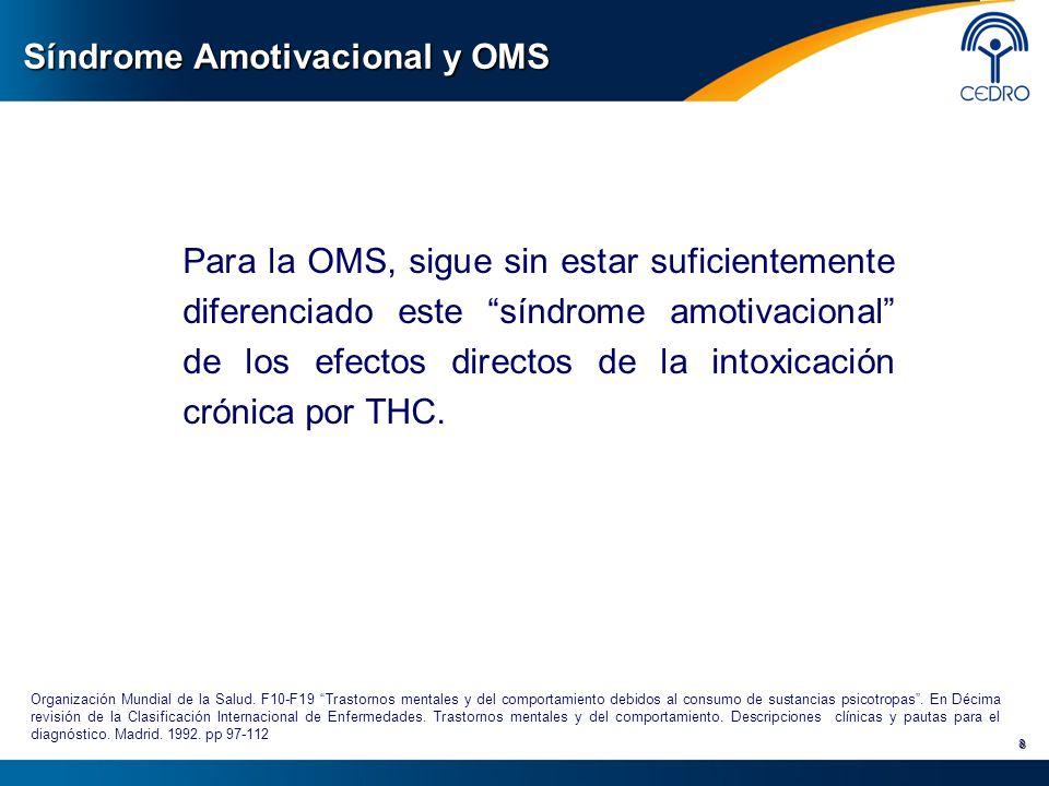 Síndrome Amotivacional y OMS