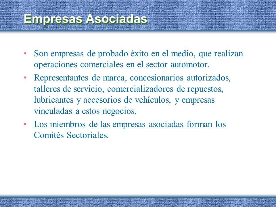 Empresas Asociadas Son empresas de probado éxito en el medio, que realizan operaciones comerciales en el sector automotor.