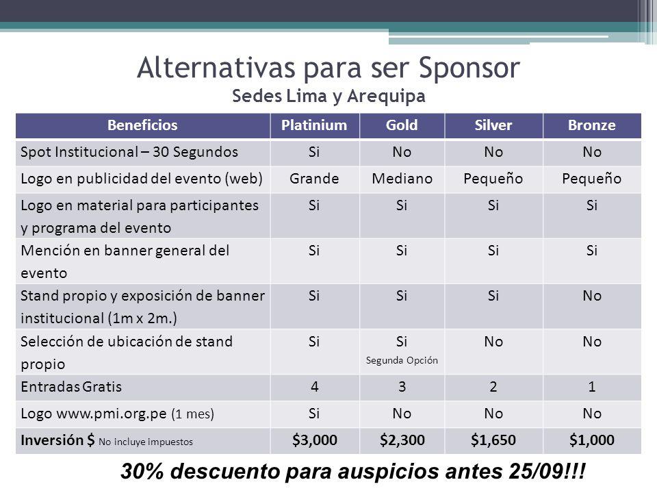 Alternativas para ser Sponsor Sedes Lima y Arequipa