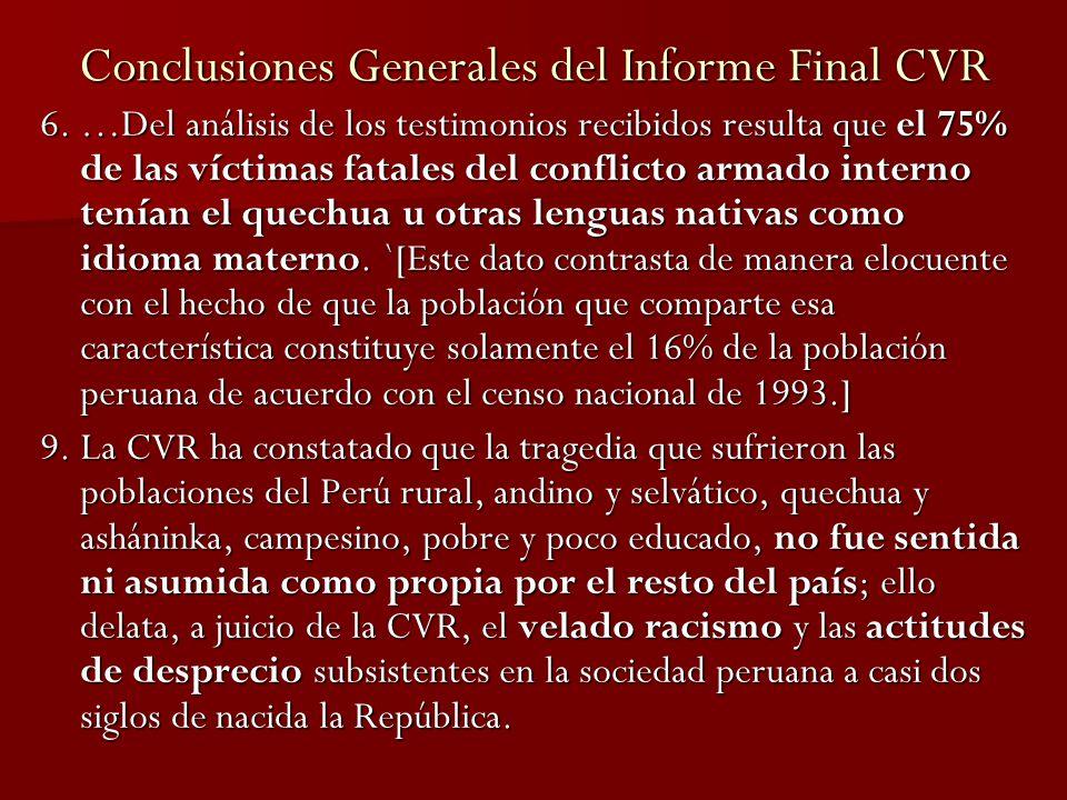 Conclusiones Generales del Informe Final CVR