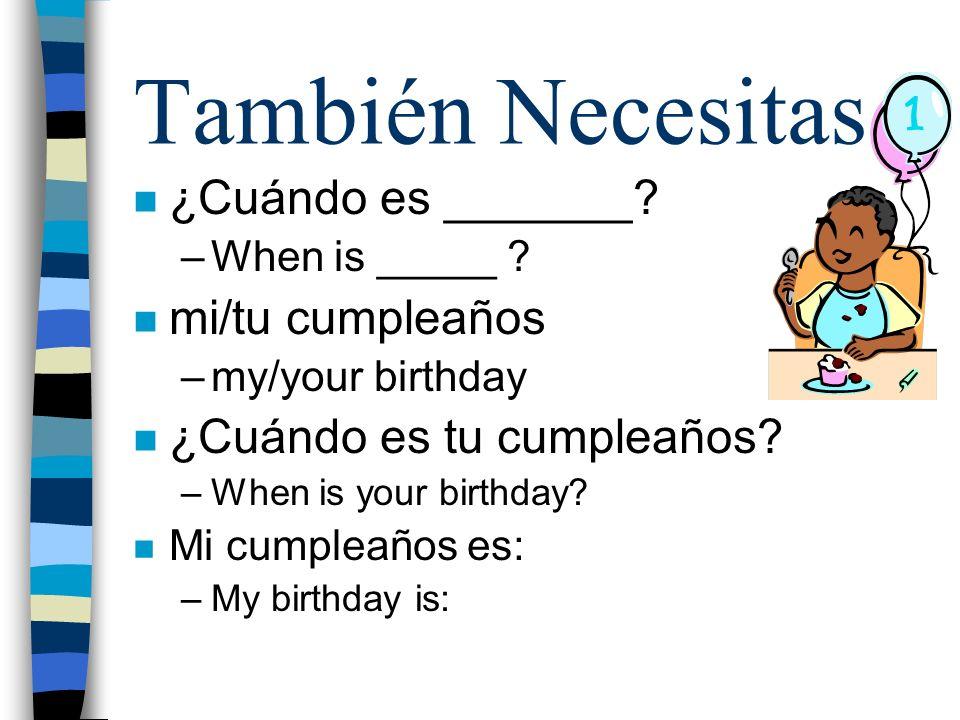 También Necesitas ¿Cuándo es _______ mi/tu cumpleaños