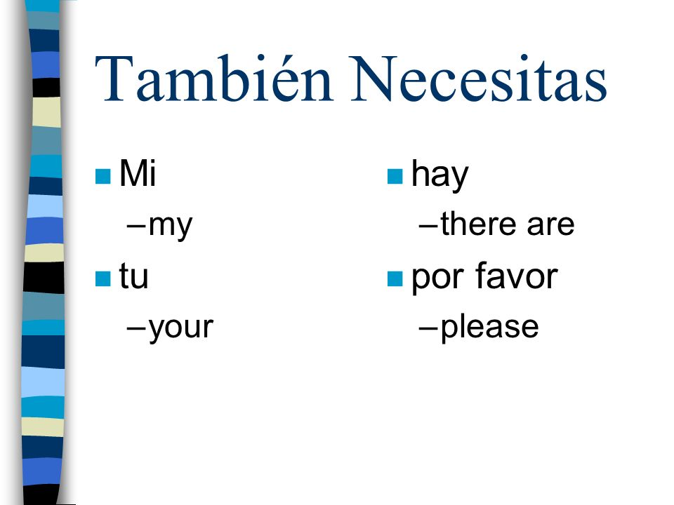 También Necesitas Mi my tu your hay there are por favor please