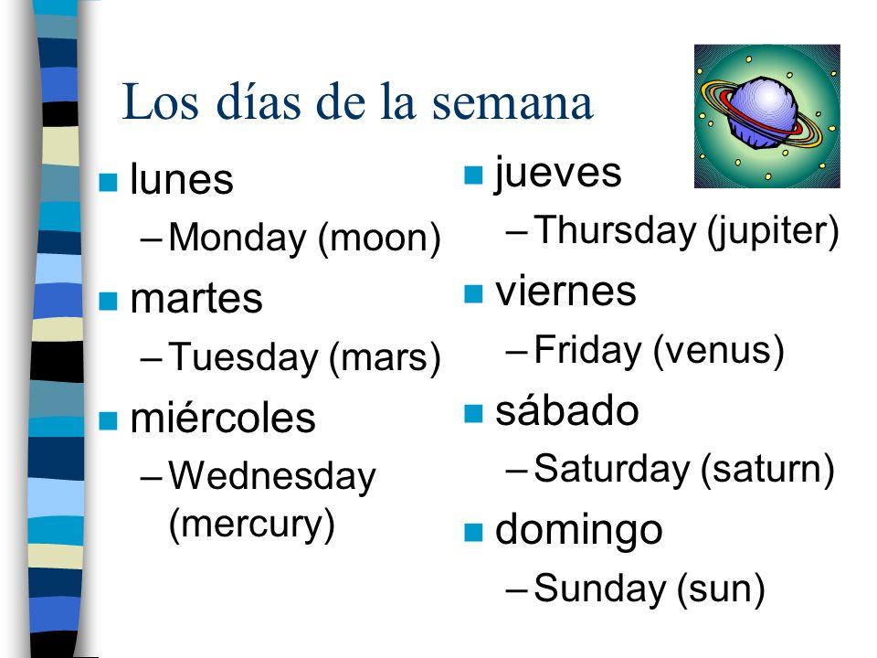 Los días de la semana jueves lunes viernes martes sábado miércoles