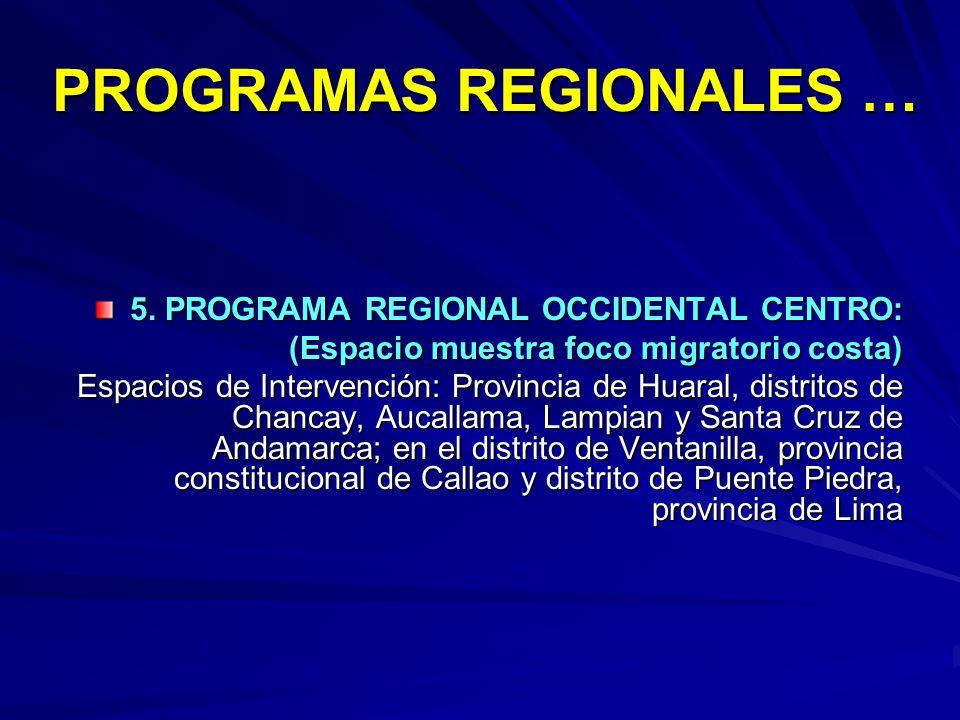 PROGRAMAS REGIONALES …