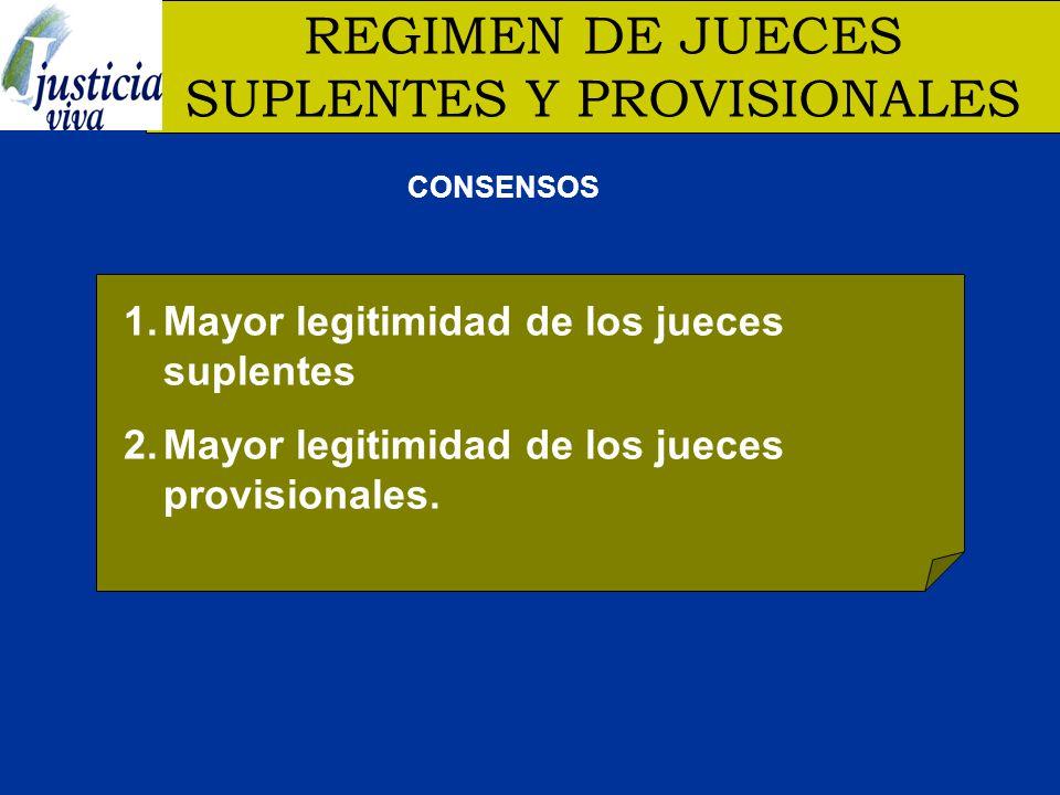REGIMEN DE JUECES SUPLENTES Y PROVISIONALES