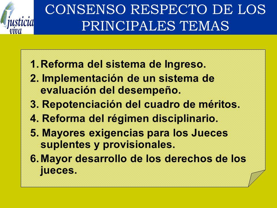 CONSENSO RESPECTO DE LOS PRINCIPALES TEMAS
