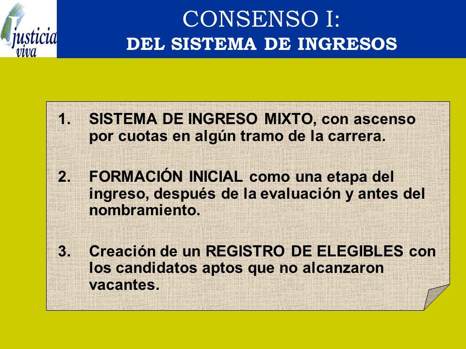 CONSENSO I: DEL SISTEMA DE INGRESOS