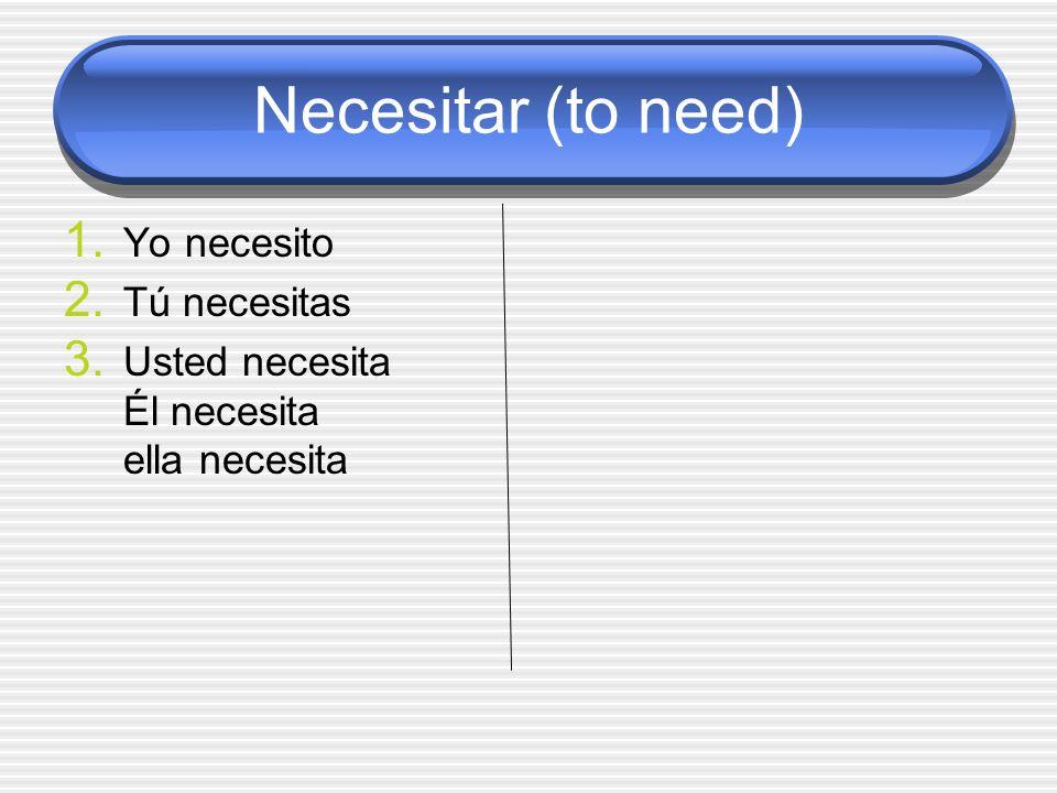 Necesitar (to need) Yo necesito Tú necesitas