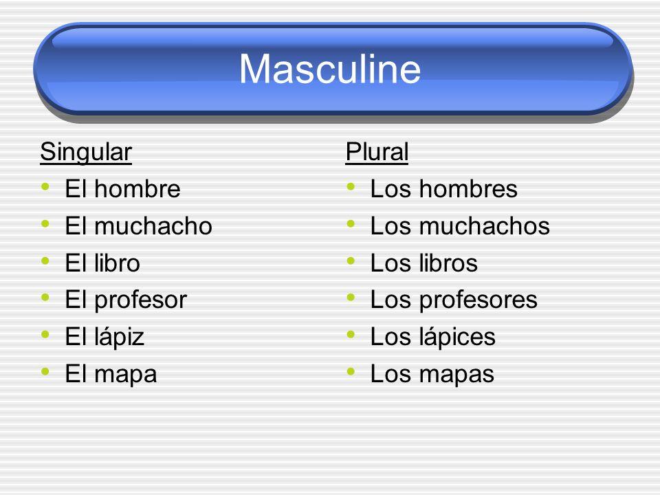 Masculine Singular El hombre El muchacho El libro El profesor El lápiz