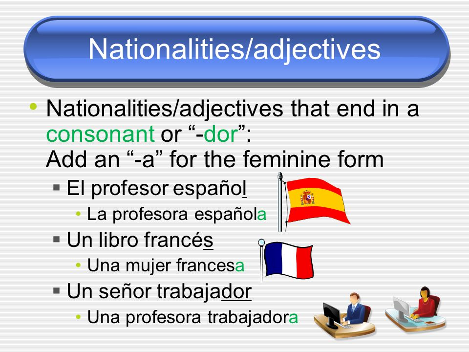 Nationalities/adjectives