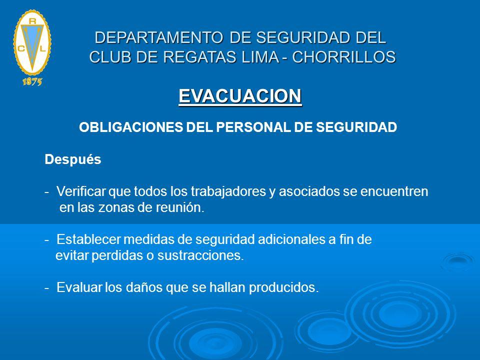 OBLIGACIONES DEL PERSONAL DE SEGURIDAD