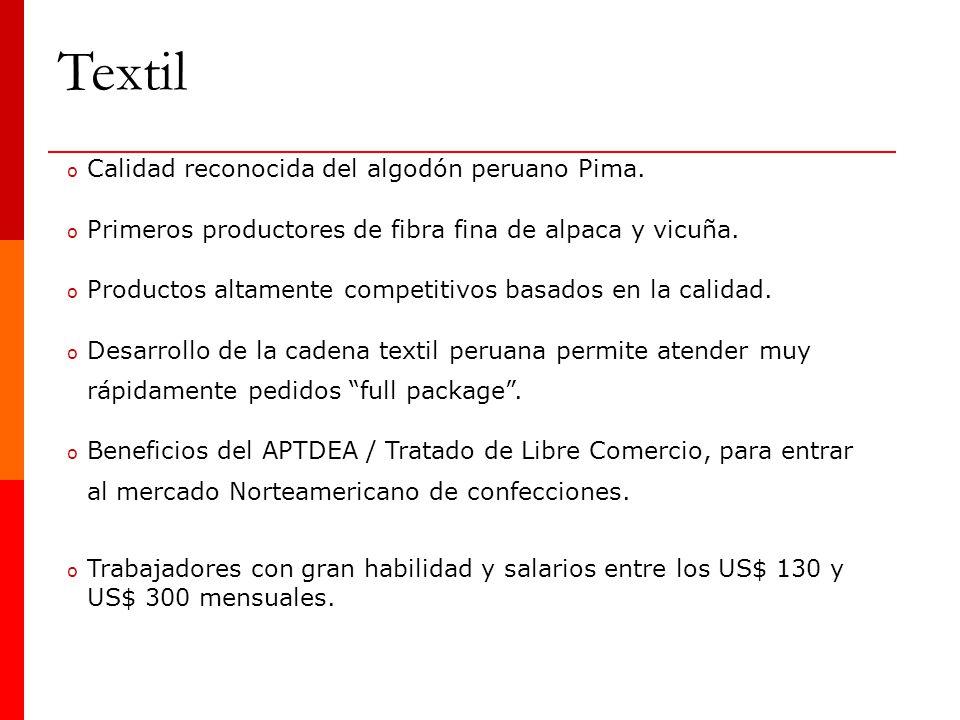 Textil Calidad reconocida del algodón peruano Pima.