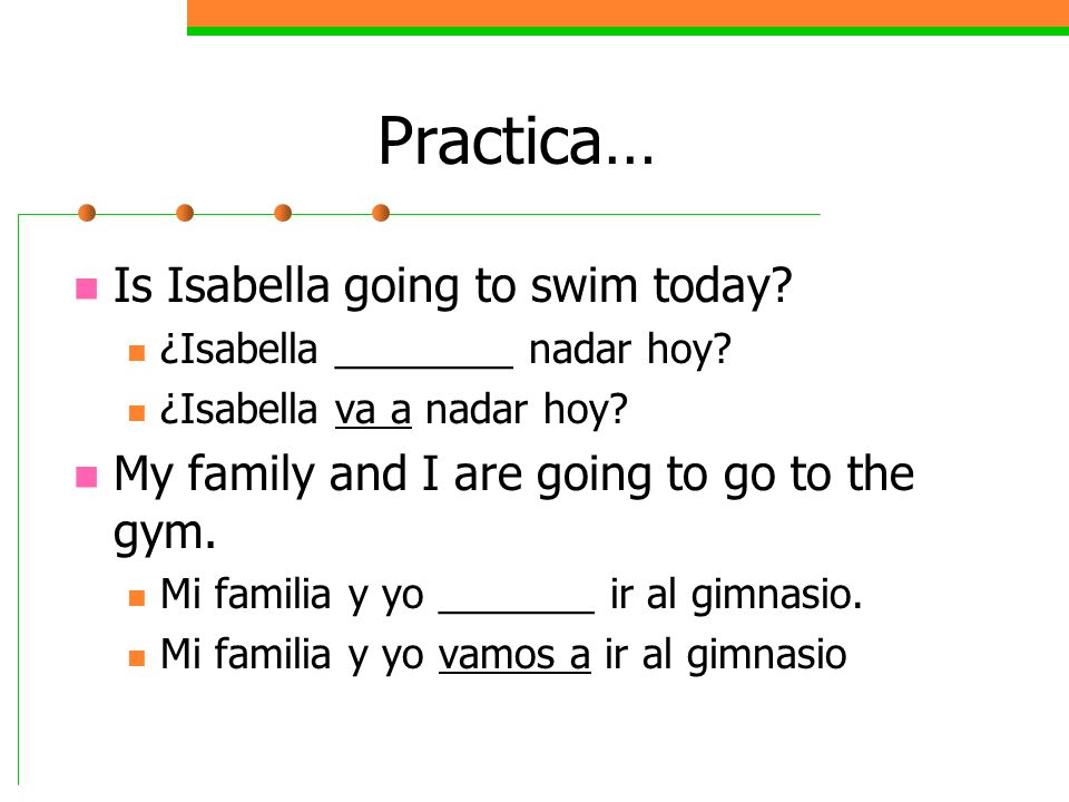 Practica… Is Isabella going to swim today