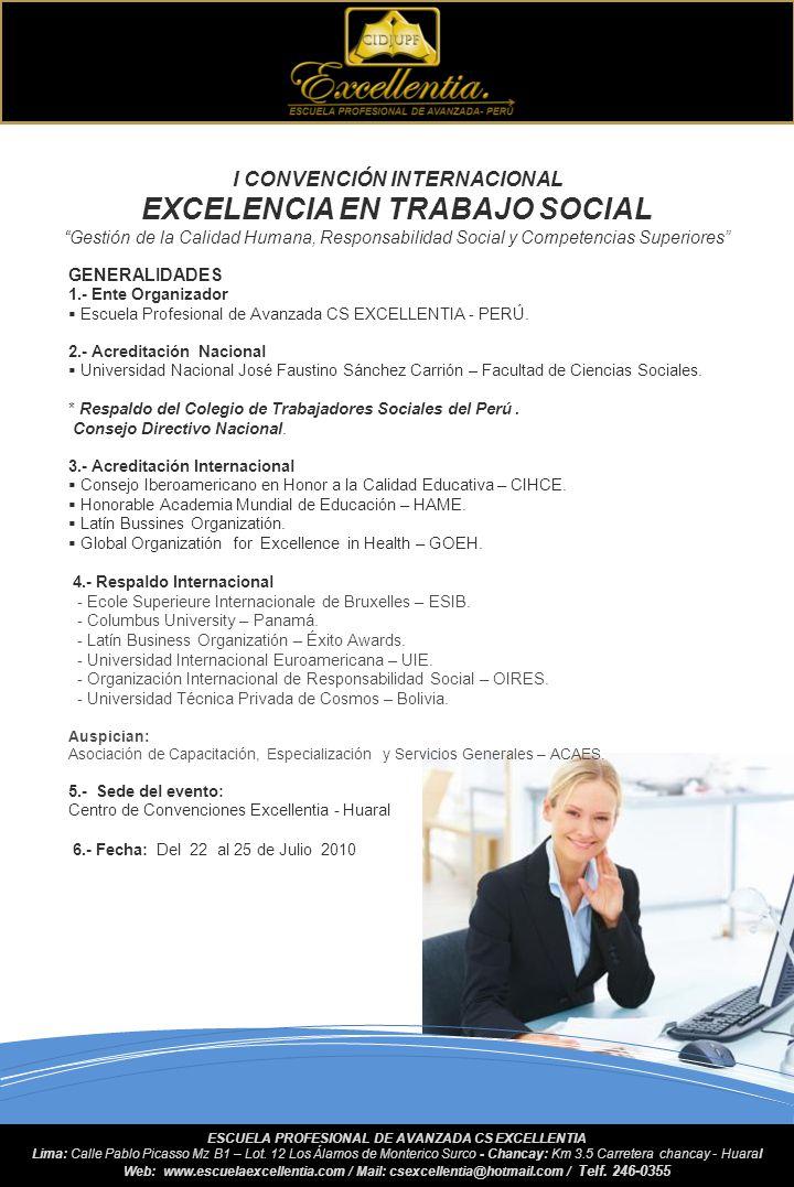 I CONVENCIÓN INTERNACIONAL EXCELENCIA EN TRABAJO SOCIAL