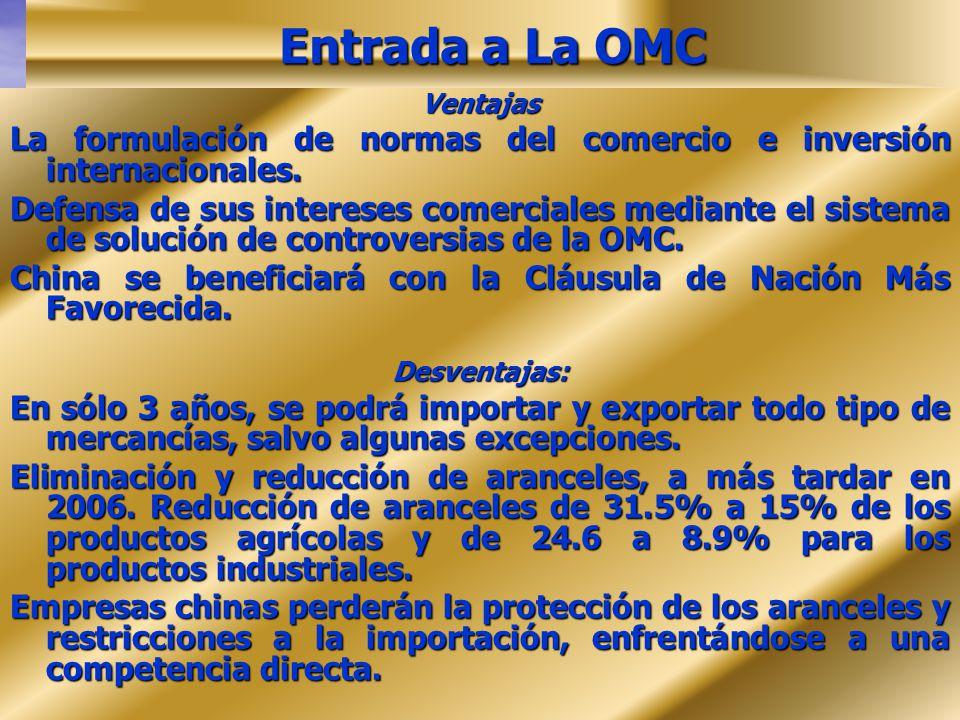 Entrada a La OMC Ventajas. La formulación de normas del comercio e inversión internacionales.