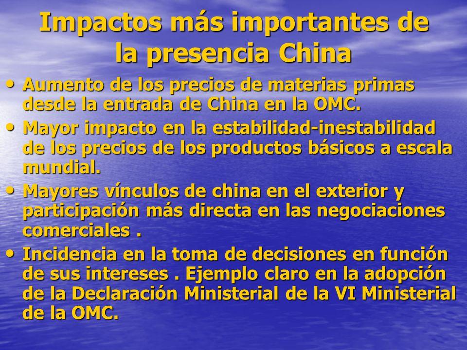 Impactos más importantes de la presencia China
