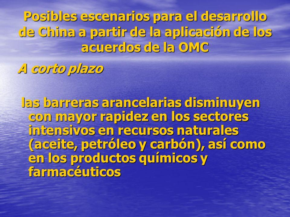 Posibles escenarios para el desarrollo de China a partir de la aplicación de los acuerdos de la OMC