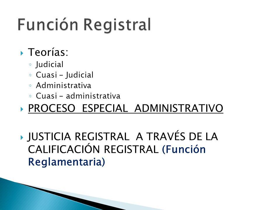 Función Registral Teorías: PROCESO ESPECIAL ADMINISTRATIVO
