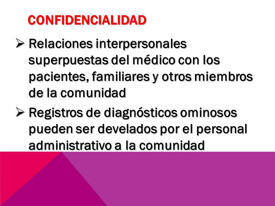 confidencialidad Relaciones interpersonales superpuestas del médico con los pacientes, familiares y otros miembros de la comunidad.