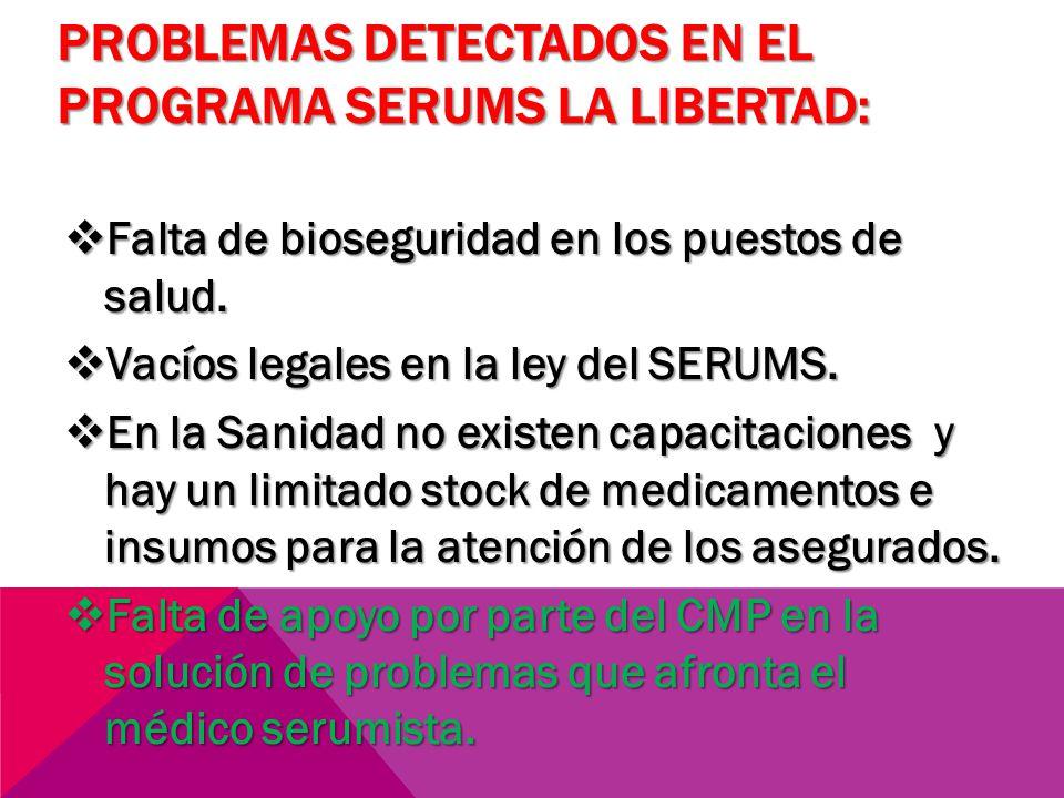 PROBLEMAS DETECTADOS EN EL PROGRAMA SERUMS LA LIBERTAD: