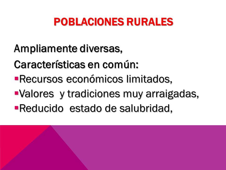 POBLACIONES RURALES Ampliamente diversas, Características en común: Recursos económicos limitados,