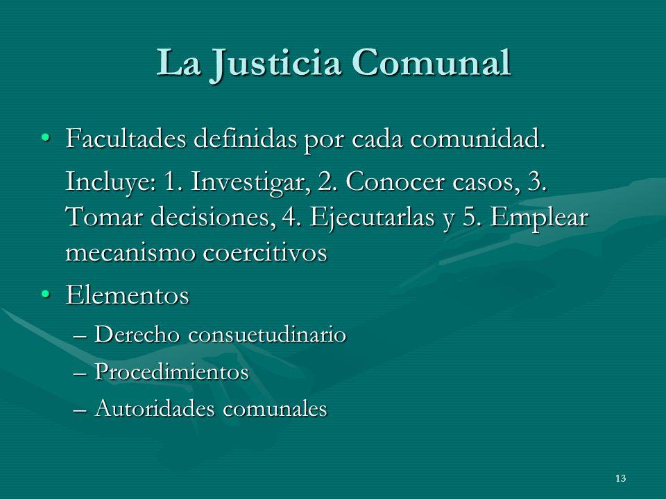 La Justicia Comunal Facultades definidas por cada comunidad.