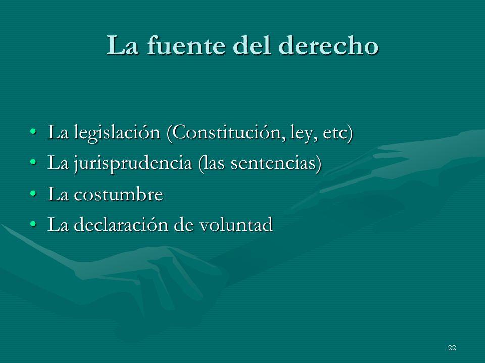 La fuente del derecho La legislación (Constitución, ley, etc)