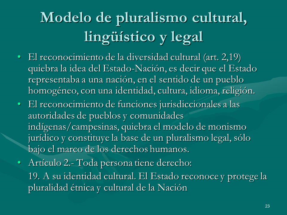 Modelo de pluralismo cultural, lingüístico y legal