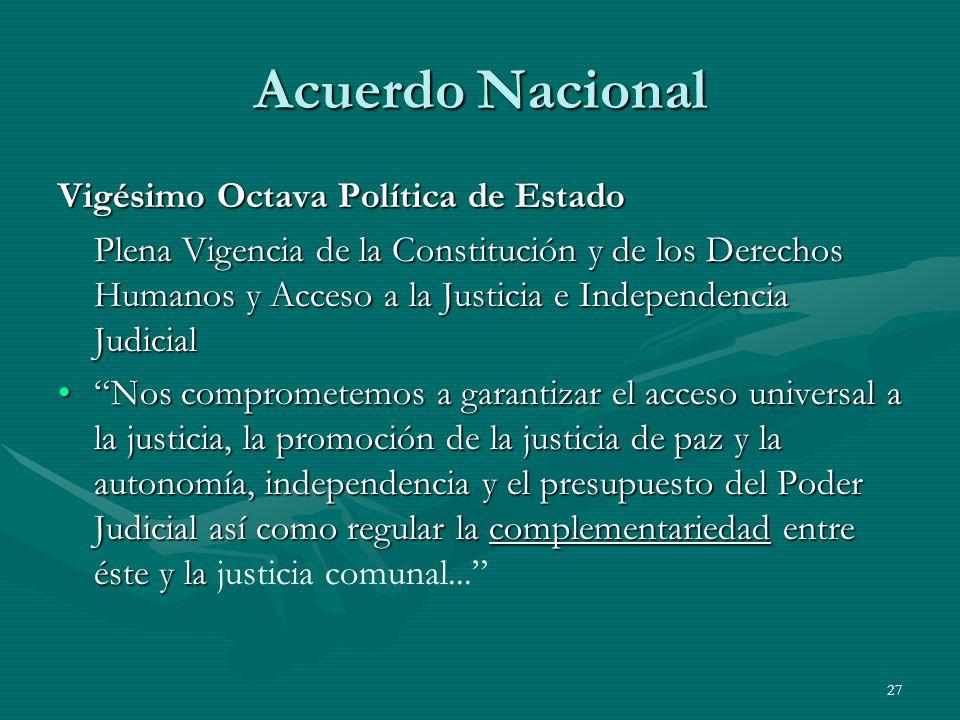 Acuerdo Nacional Vigésimo Octava Política de Estado