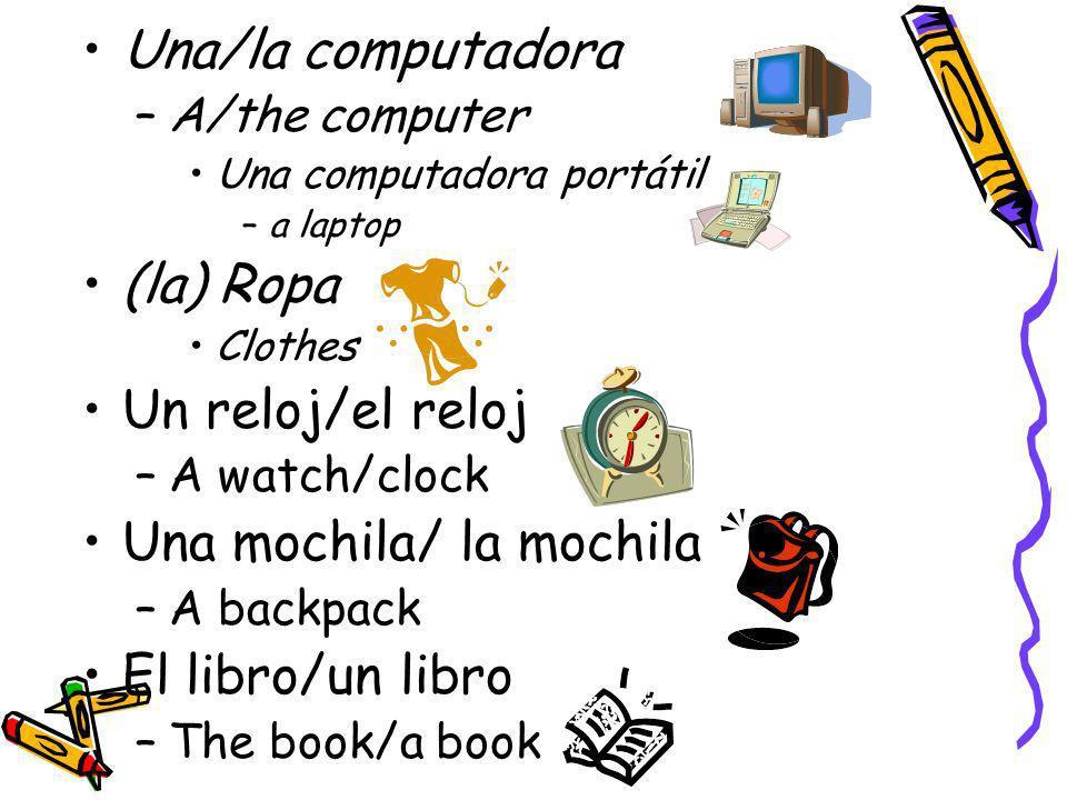 Una mochila/ la mochila El libro/un libro