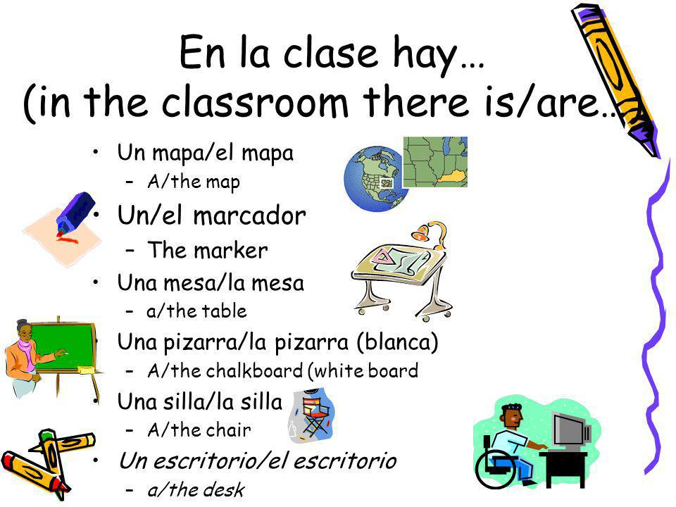 En la clase hay… (in the classroom there is/are…)