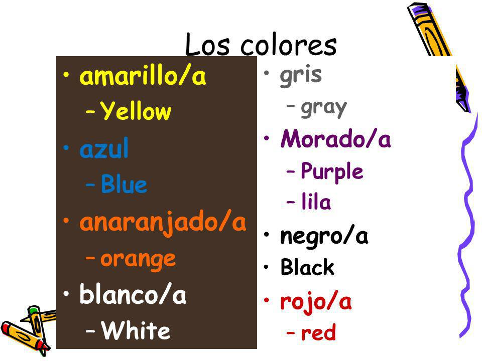 Los colores amarillo/a azul anaranjado/a blanco/a gris Yellow Morado/a