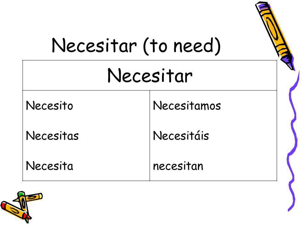Necesitar (to need) Necesitar Necesito Necesitamos Necesitas