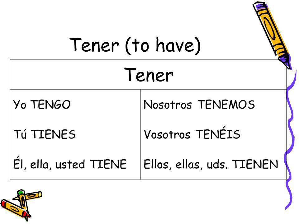 Tener (to have) Tener Yo TENGO Nosotros TENEMOS Tú TIENES
