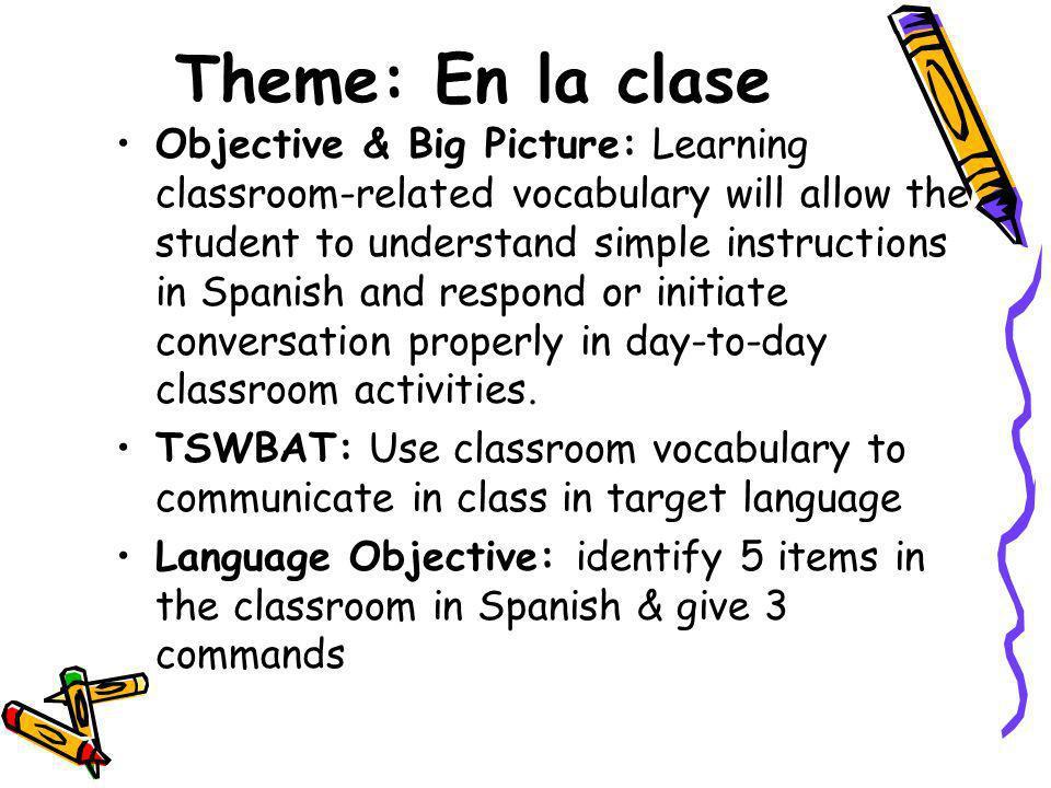Theme: En la clase