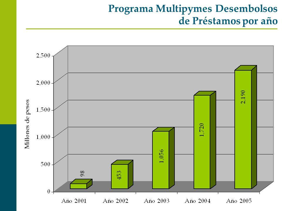 Programa Multipymes Desembolsos de Préstamos por año