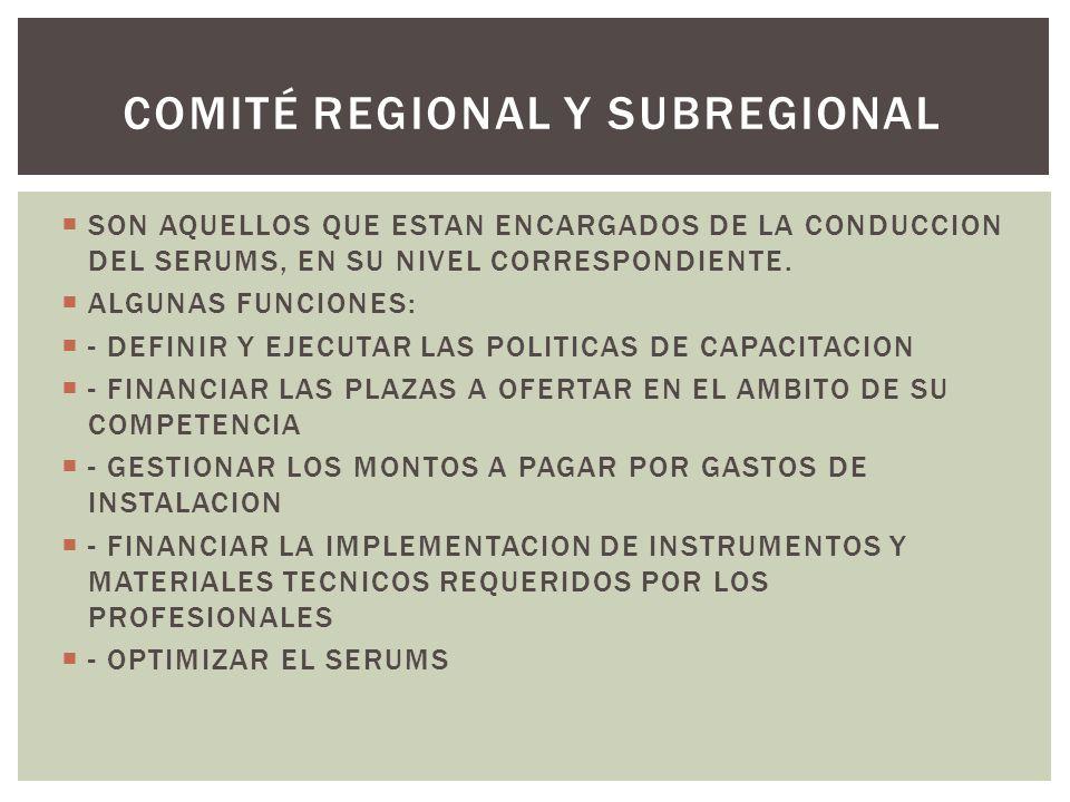 COMITÉ REGIONAL Y SUBREGIONAL