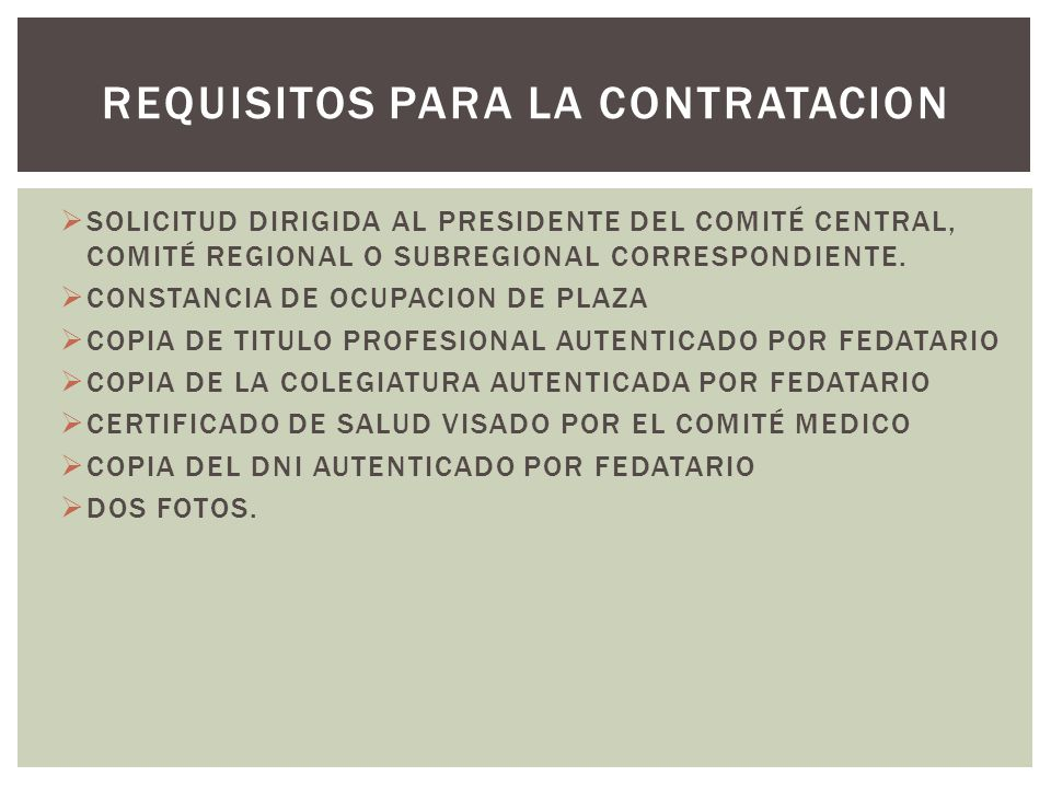 REQUISITOS PARA LA CONTRATACION