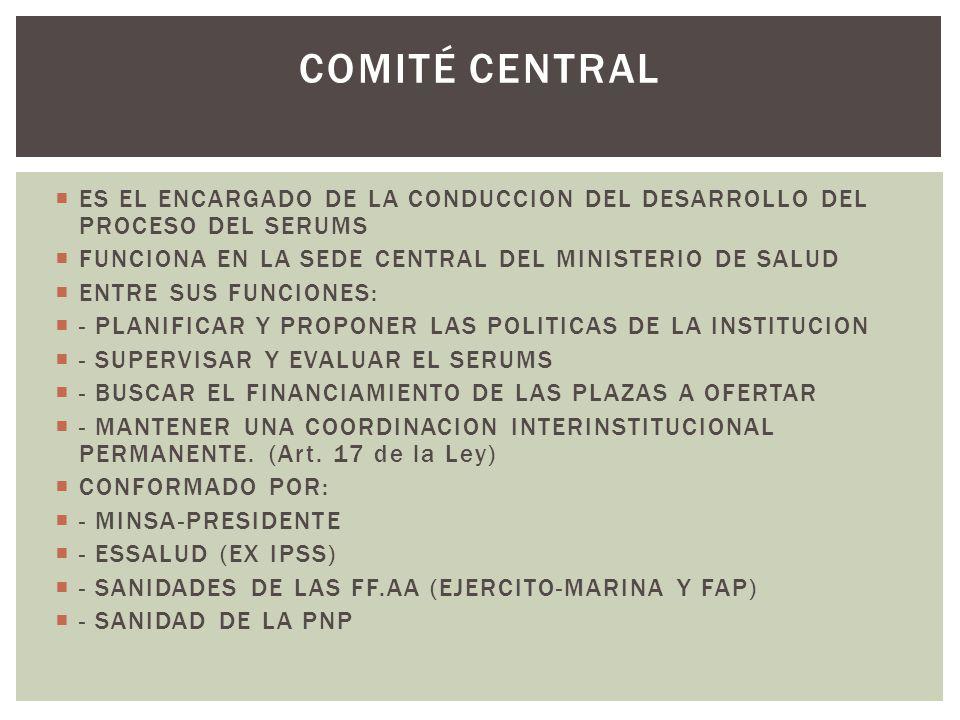 COMITÉ CENTRAL ES EL ENCARGADO DE LA CONDUCCION DEL DESARROLLO DEL PROCESO DEL SERUMS. FUNCIONA EN LA SEDE CENTRAL DEL MINISTERIO DE SALUD.