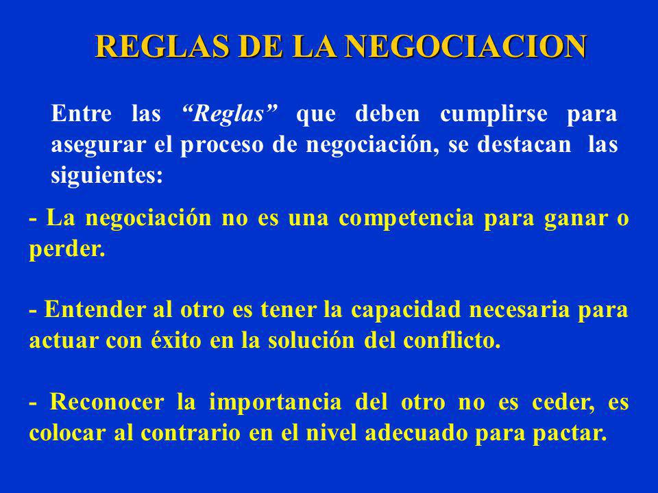 REGLAS DE LA NEGOCIACION