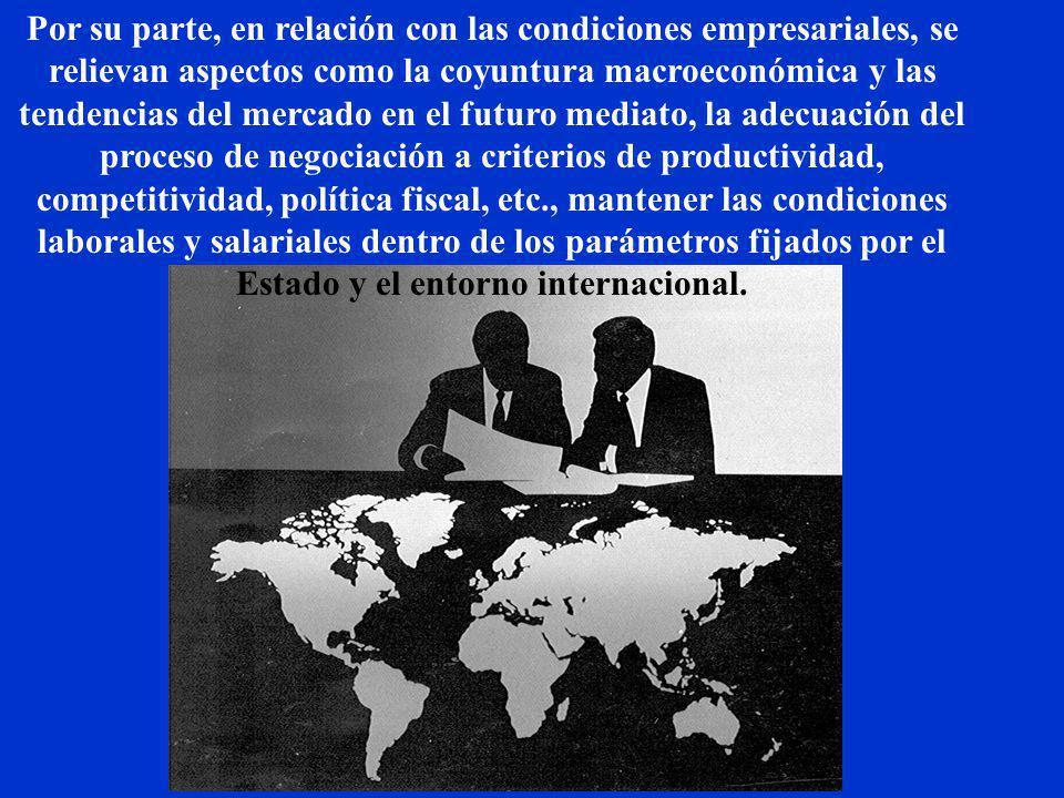 Por su parte, en relación con las condiciones empresariales, se relievan aspectos como la coyuntura macroeconómica y las tendencias del mercado en el futuro mediato, la adecuación del proceso de negociación a criterios de productividad, competitividad, política fiscal, etc., mantener las condiciones laborales y salariales dentro de los parámetros fijados por el Estado y el entorno internacional.