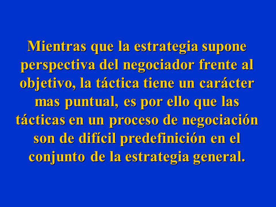 Mientras que la estrategia supone perspectiva del negociador frente al objetivo, la táctica tiene un carácter mas puntual, es por ello que las tácticas en un proceso de negociación son de difícil predefinición en el conjunto de la estrategia general.