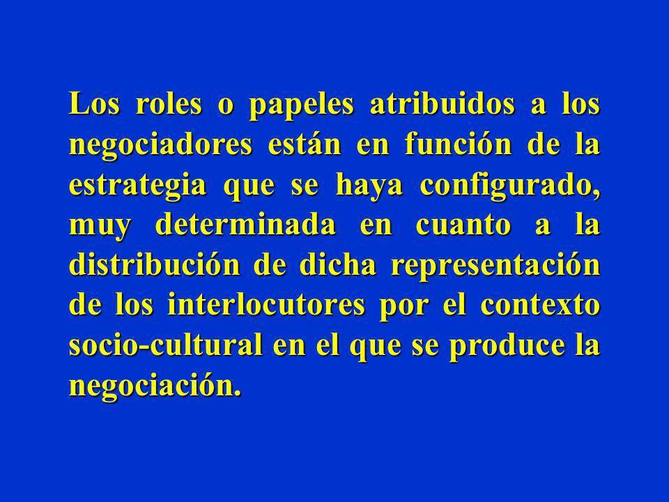 Los roles o papeles atribuidos a los negociadores están en función de la estrategia que se haya configurado, muy determinada en cuanto a la distribución de dicha representación de los interlocutores por el contexto socio-cultural en el que se produce la negociación.
