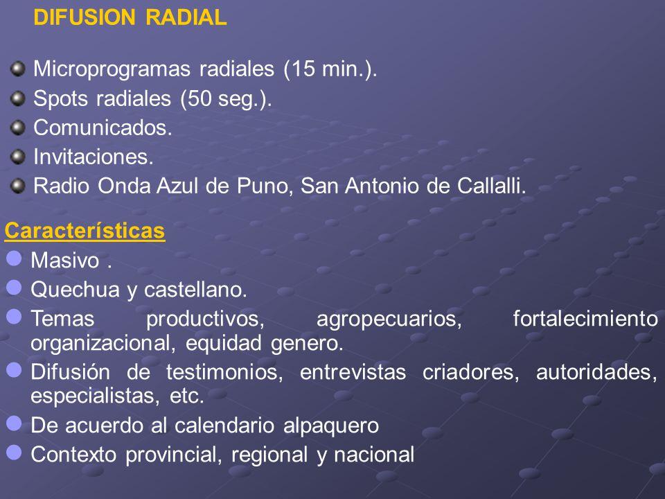 DIFUSION RADIAL Microprogramas radiales (15 min.). Spots radiales (50 seg.). Comunicados. Invitaciones.