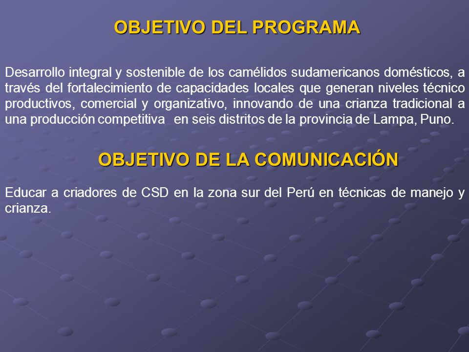 OBJETIVO DE LA COMUNICACIÓN