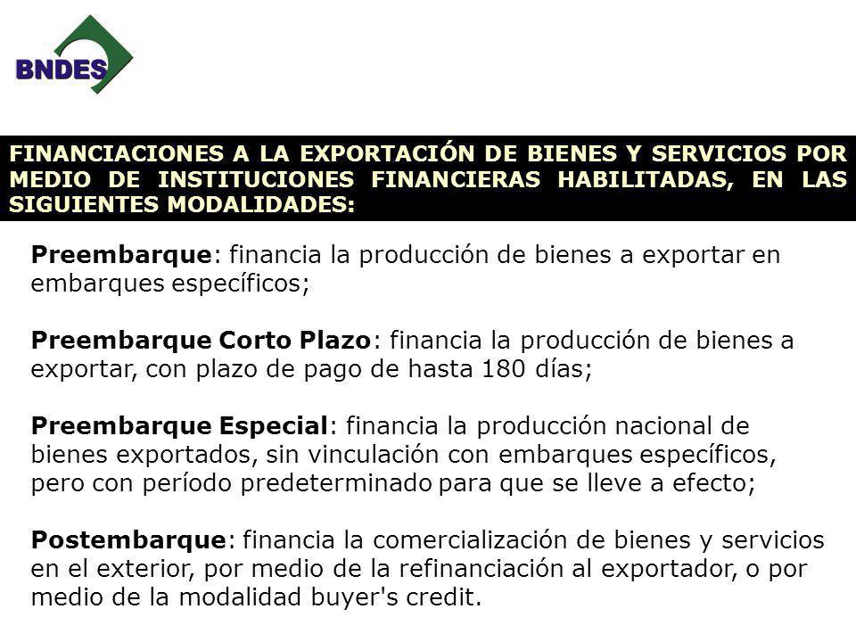 FINANCIACIONES A LA EXPORTACIÓN DE BIENES Y SERVICIOS POR MEDIO DE INSTITUCIONES FINANCIERAS HABILITADAS, EN LAS SIGUIENTES MODALIDADES: