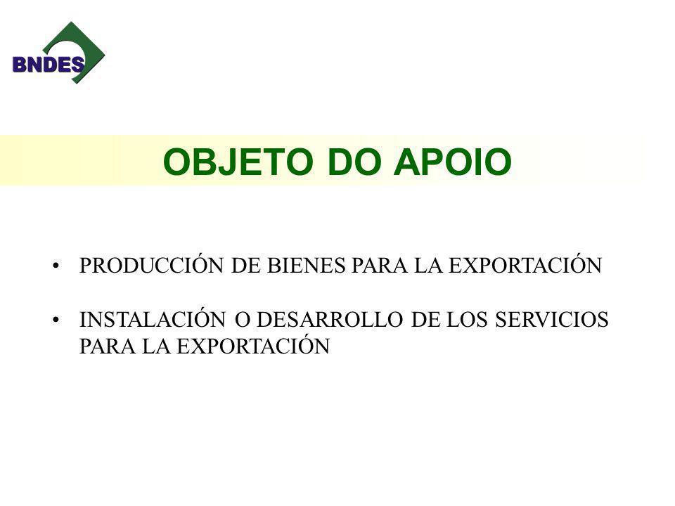 OBJETO DO APOIO PRODUCCIÓN DE BIENES PARA LA EXPORTACIÓN